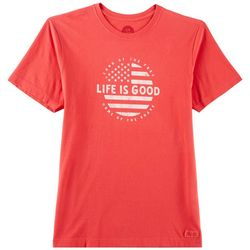 Life Is Good Mens Circle Flag Logo T-Shirt