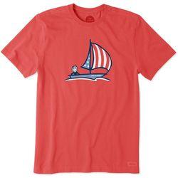 Life Is Good Mens American Sailboat Crusher T-Shirt