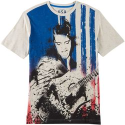 Elvis Presley Guitar American Flag Short Sleeve T-Shirt