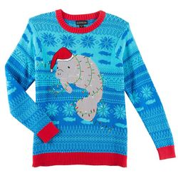 Fashion Ave. Mens Light-Up Manatee Holiday Sweater