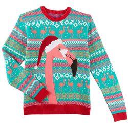 Fashion Ave. Mens Festive Flamingo Holiday Sweater