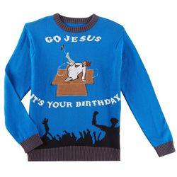 Fashion Ave. Mens Go Jesus Holiday Sweater