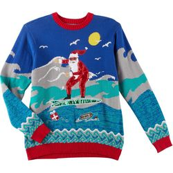 Fashion Ave Knits Mens Surfing Santa Sweater