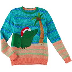 Fashion Ave Knits Mens Santa Alligator Sweater