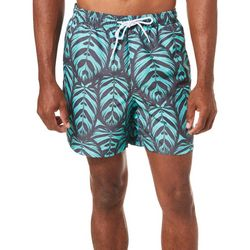 Boca Classics Mens Tropical Leaf Print Swim Trunks