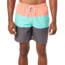 Boca Classics Mens Colorblock Drawstring Swim Trunks