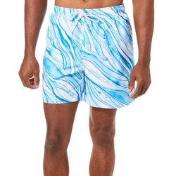 Boca Classics Mens Wave Print Swim Trunks