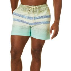 Boca Islandwear Mens Palm & Stripe Swim Trunks