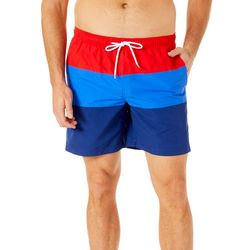 Boca Classics Mens Stripe Print Swim Trunks
