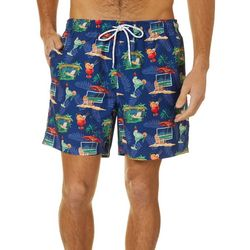 Boca Classics Mens Tropical Drinks Swim Trunks
