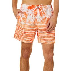 Boca Classics Mens Palm Tree & Stripe Swim Trunks