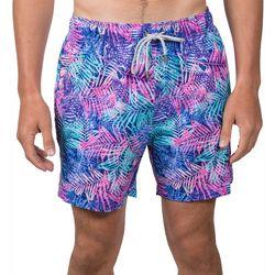 Vintage Summer Mens Palm Leaf Swim Shorts