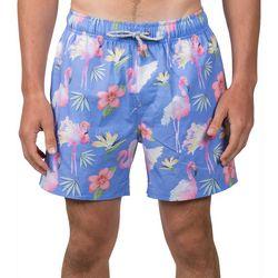Vintage Summer Mens Flamingo Hibiscus Swim Shorts
