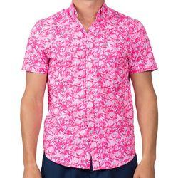 Vintage Summer Mens Flamingo Button Down Short Sleeve Shirt