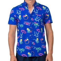 Vintage Summer Mens Retro Neon Short Sleeve Shirt