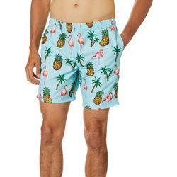 Distortion Mens Pineapple Flamingo Print Volleyball Shorts