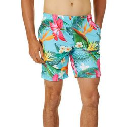 Distortion Mens Bird Of Paradise Print Volleyball Shorts