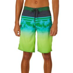 Distortion Mens Palm Tree Stripe Print Boardshorts
