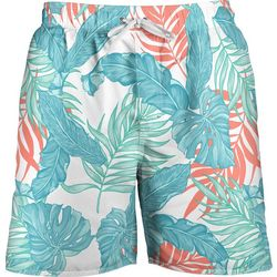 Newport Blue Mens Palm Leaf Print Swim Trunks