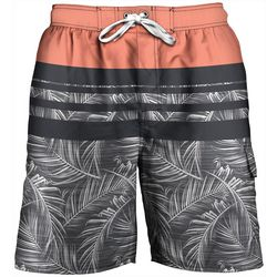 Newport Blue Mens Colorblock Palm Leaf Swim Trunks