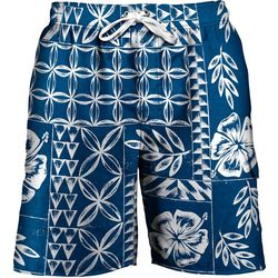 Newport Blue Mens Tapa Print Swim Trunks