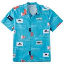 Columbia Mens PFG Trollers Best Boat Fish Print Shirt
