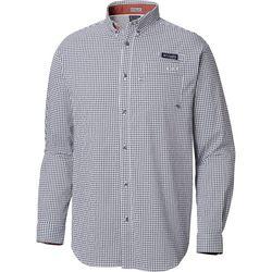Columbia Mens Super Harborside Plaid Print Long Sleeve Shirt