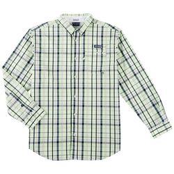 Columbia Mens Super Harborside Madras Long Sleeve Shirt