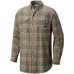 Columbia Mens Bonehead Plaid Print Flannel Long Sleeve Shirt