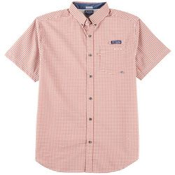 Columbia Mens Super Harborside Gingham Short Sleeve Shirt