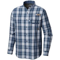 Columbia Mens Super Sharptail Plaid Print Long Sleeve Shirt