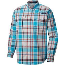 Columbia Mens PFG Super Bahama Plaid Print Long Sleeve Shirt
