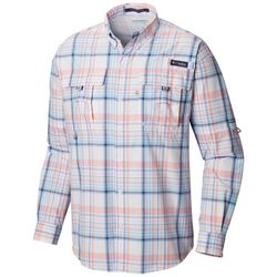 Columbia Mens PFG Super Bahama Gingham Plaid Shirt