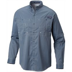 Columbia Mens PFG Super Tamiami Windowpane Plaid Shirt