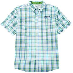 Columbia Mens Super Low Drag Plaid Print Short Sleeve Shirt