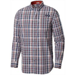 Columbia Mens Super Harborside Plaid Woven Long Sleeve Shirt