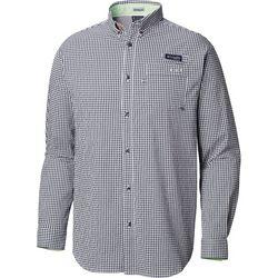 Columbia Mens Super Harborside Mini Plaid Long Sleeve Shirt
