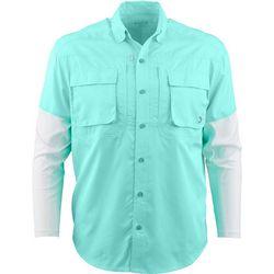 Reel Legends Mens Blackfin Solid Long Sleeve Woven Shirt