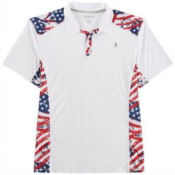Reel Legends Mens Reel-Tec Painted Flag Blocked Polo Shirt