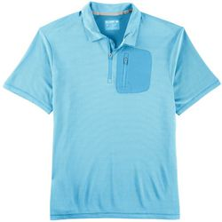 Reel Legends Mens Freeline Boaters Stripe Pocket Polo Shirt