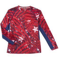 Reel Legends Mens Reel-Tec Stars & Stripes Raglan T-Shirt