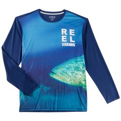 Reel Legends Mens Freeline Grouper Pieced Long Sleeve Shirt