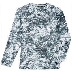 Reel Legends Mens Keep It Cool Aqua Palm Long Sleeve T-Shirt