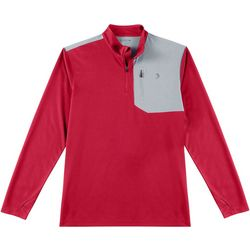 Reel Legends Mens Colorblocked Zipper Placket Pullover