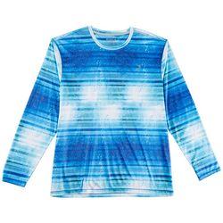 Reel Legends Mens Reel-Tec Stripe Dorado Long Sleeve T-Shirt