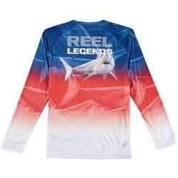 Reel Legends Mens Reel-Tec Mako Blue Long Sleeve T-Shirt