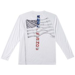 Reel Legends Mens Reel-Tec God Bless Long Sleeve T-Shirt