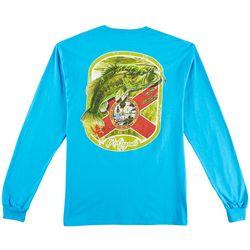 Reel Legends Mens Bass Flag Long Sleeve T-Shirt