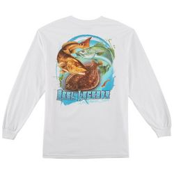 Reel Legends Mens Three's A Charm Long Sleeve T-Shirt