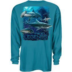 Reel Legends Mens Shark Swarm Long Sleeve T-Shirt